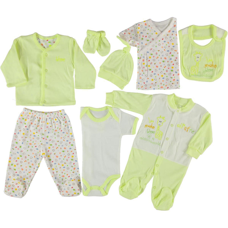 Cinarluks Giraffe Embellished 8 Piece Set for Baby Gils & Baby Boys