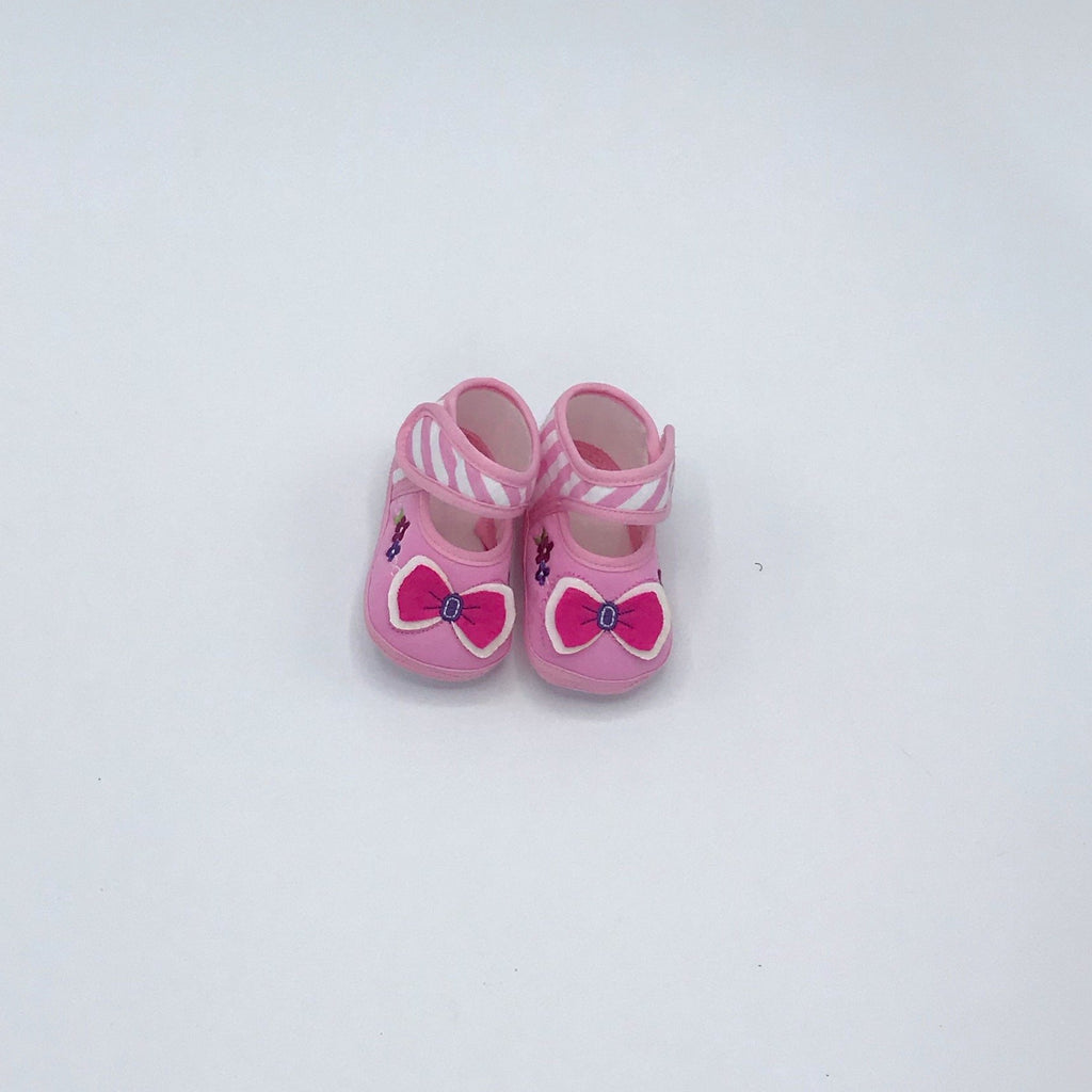 Minidamla Bow Detailed Striped Booties for Baby Girls