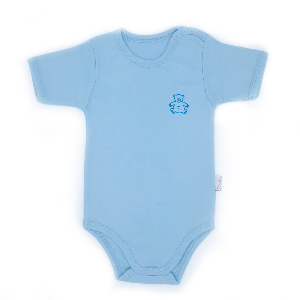 Piccolini Bear Pattern Short Sleeve Bodysuit for Baby Boys