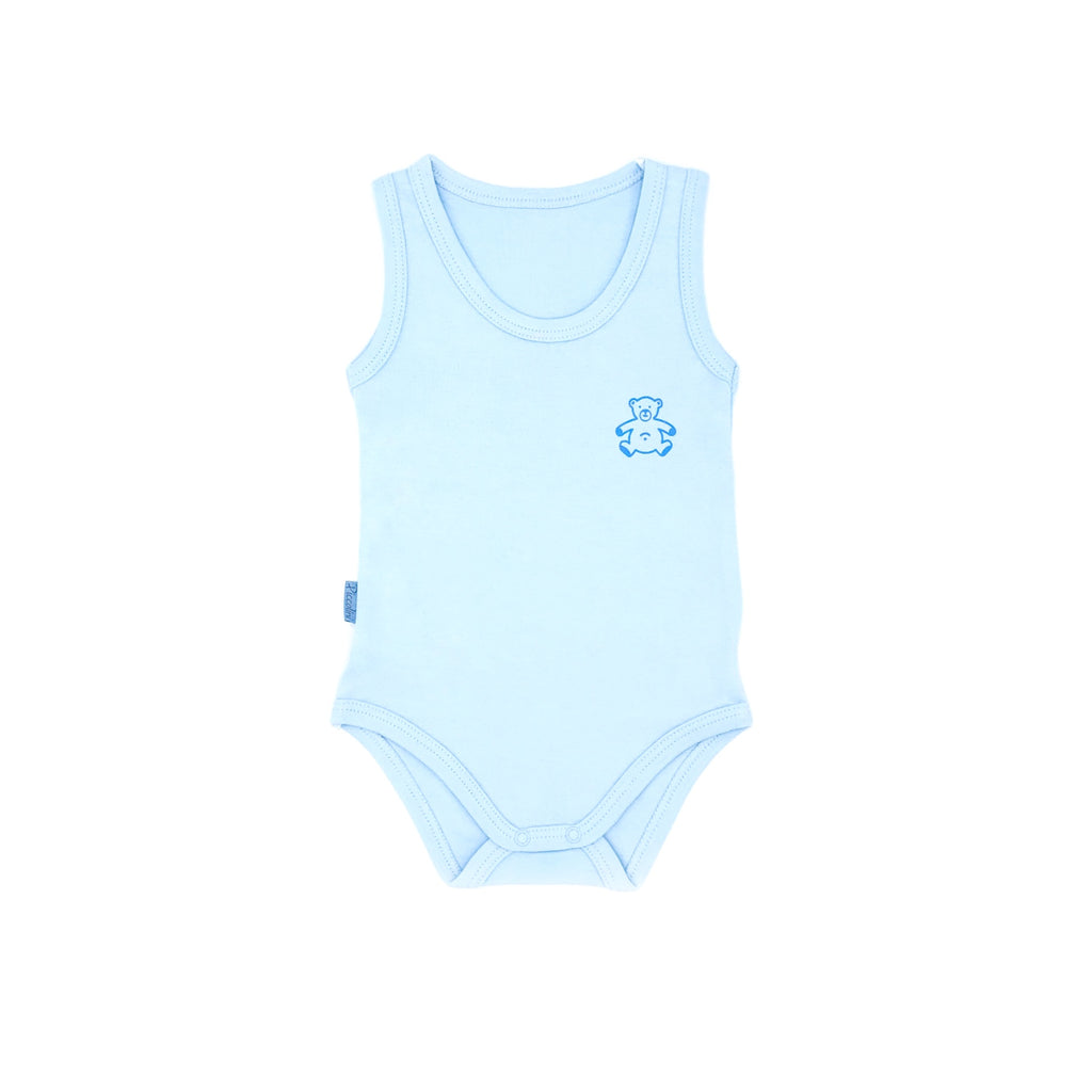 Piccolini Bear Pattern Sleeveless Bodysuit for Baby Boys