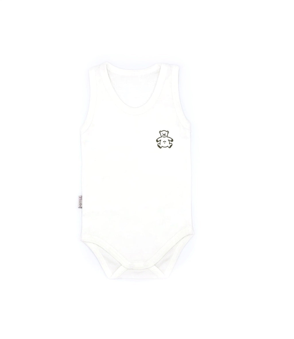 Piccolini Bear Pattern Sleeveless Bodysuit for Baby Girls