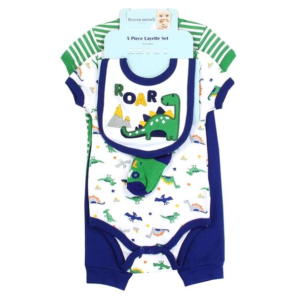 Buster Brown Dino Print 5-Piece Layette Set for Newborn Boys