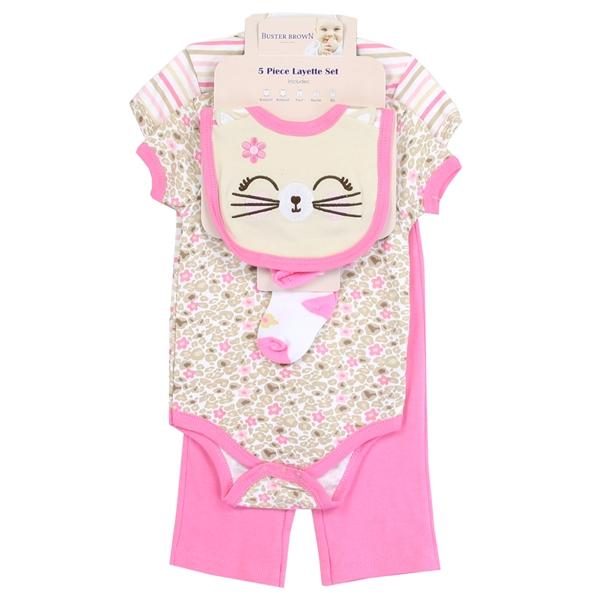 Buster Brown Cat Print 5-Piece Layette Set for Baby Girls