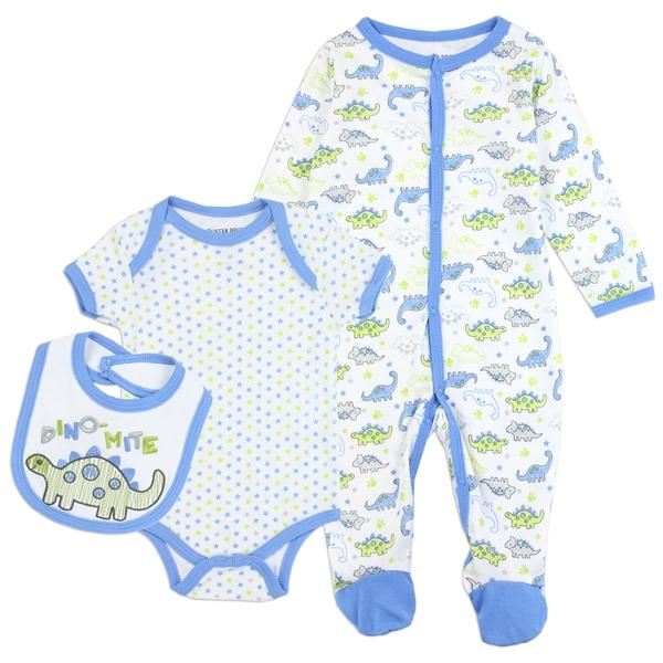 Buster Brown Dino  Mite Print 3-Piece Layette Set for Newborn Boys