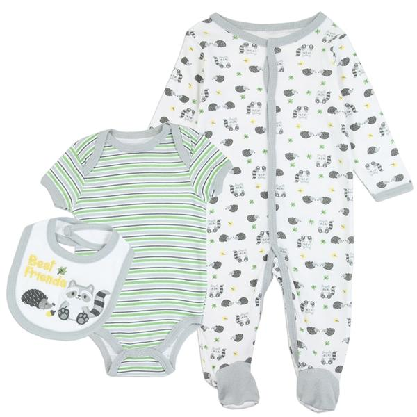Buster Brown Panda Print 3-Piece Layette Set for Newborn Boys
