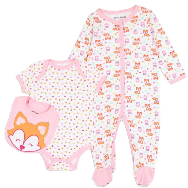 Buster Brown Fox Print  3-Piece Layette Set for Newborn Girls
