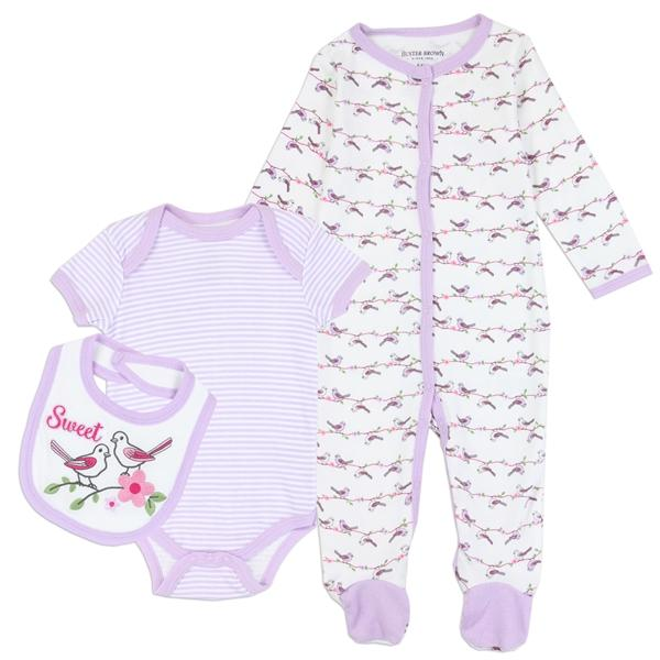 Buster Brown Birds Print 3-Piece Layette Set for Newborn Girls