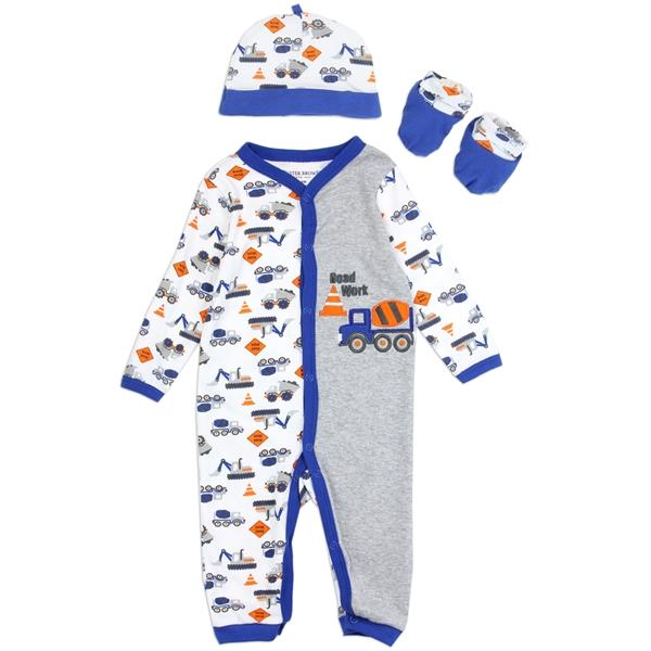 Buster Brown Road Work Print 3-Piece Layette Set for Newborn Boys