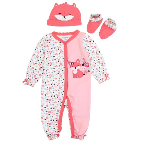 Buster Brown Cat Print 3-Piece Layette Set for Newborn Girls
