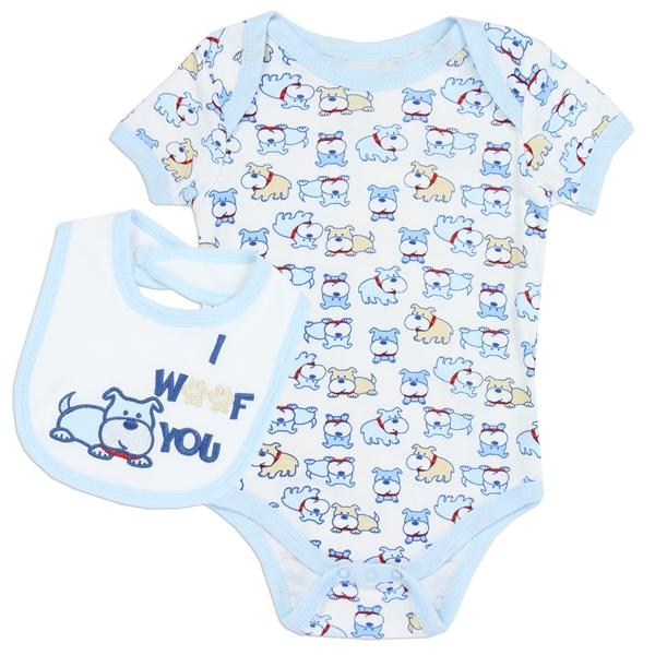 Weeplay Dog Print Creeper w Embroidered Bib for Newborn Boys