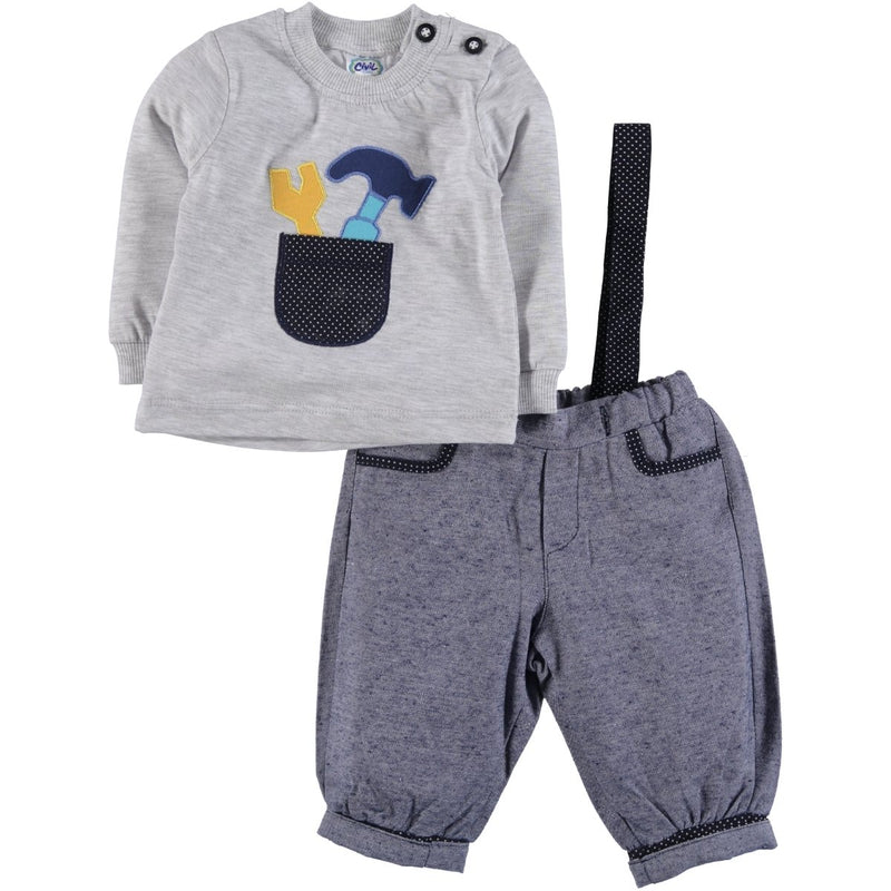 Civil Baby Linen Polka-Dotted 2 Piece Set Grey for Baby Boys