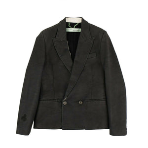 Paint Double Breasted Blazer - Black