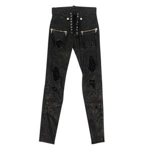 Leather Distressed Lace Up Skinny Pants - Black