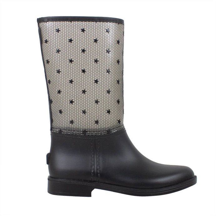 Star Design Mesh Rubber Rain Boots - Black