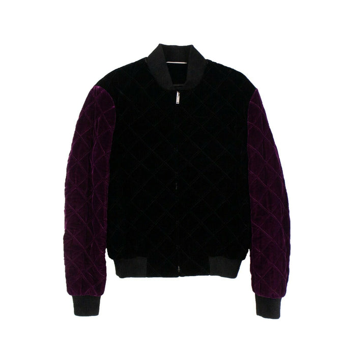 Velvet Quilted Bomber Jacket - Black And Purple