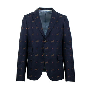 Cambridge Horse Pattern Gabardine Blazer Jacket - Blue