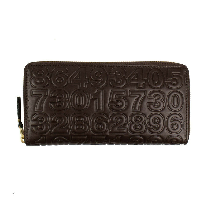 Leather Number Embossed Wallet - Brown