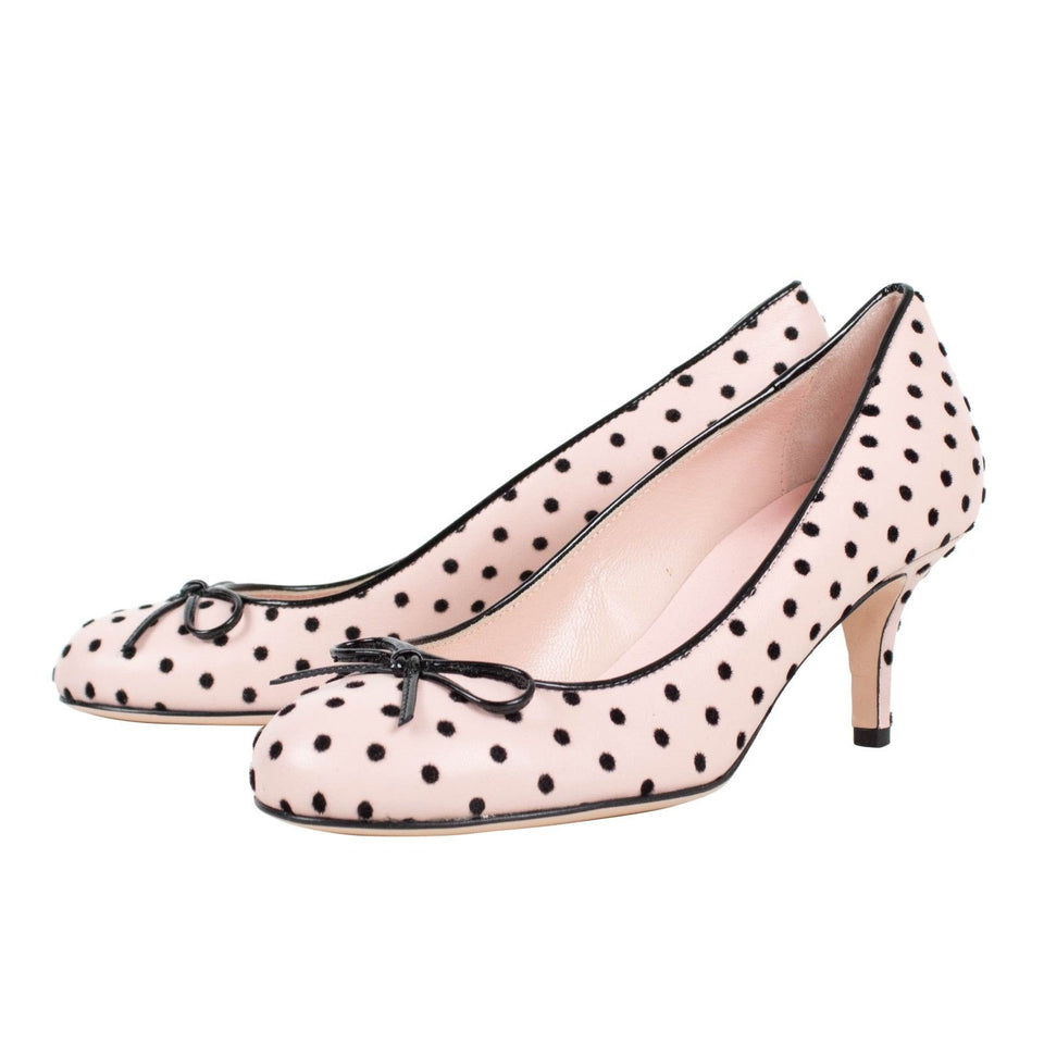 Leather Polka Dots Bow Pumps - Pink
