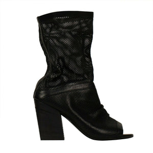 Risandalo Open Toe Leather Boots - Black