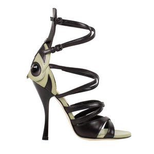 Leather Open Toe Sandal Pumps - Black / Green