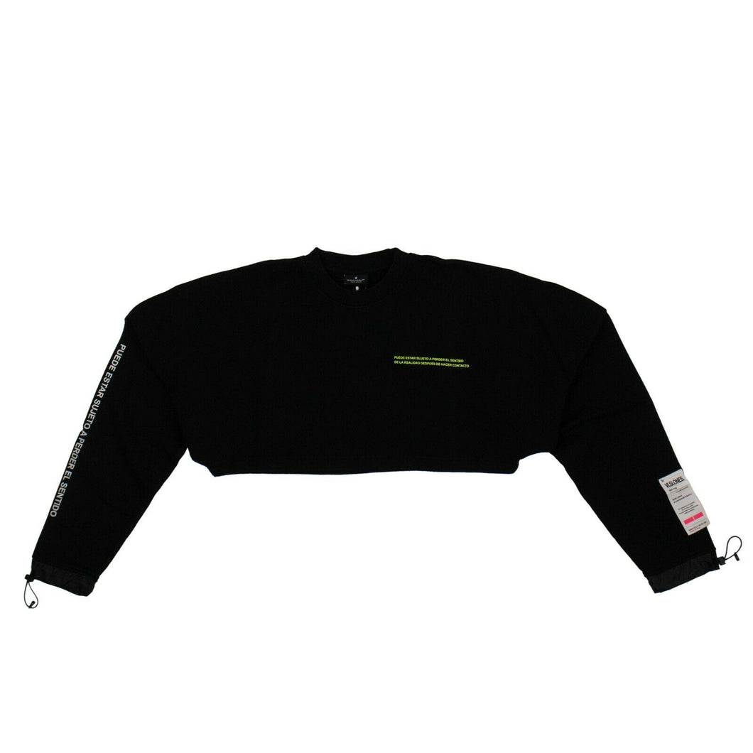 Label Cropped Crewneck Sweatshirt - Black
