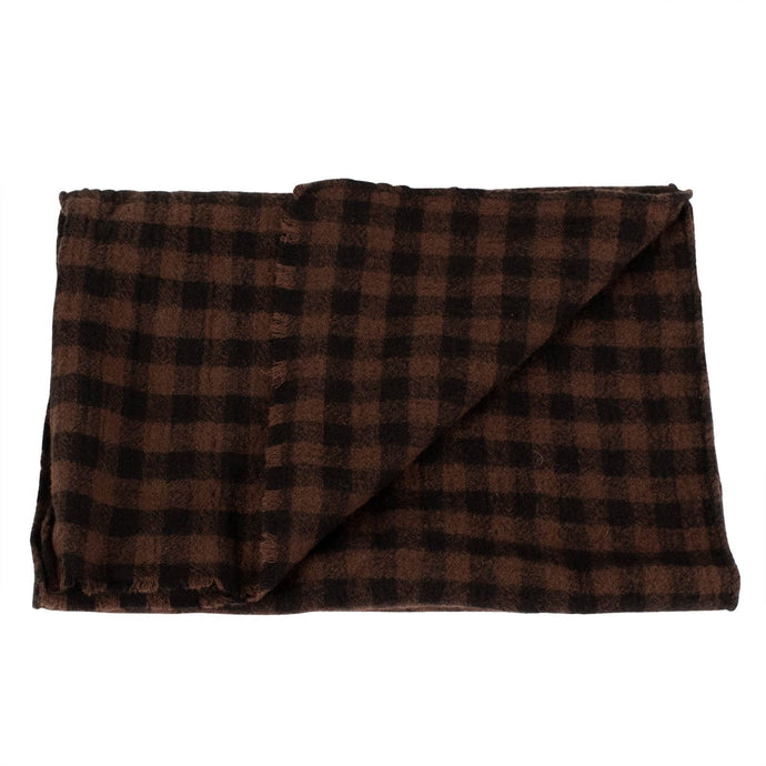 Luxurious Men's Brown Checked 100% Wool Scarf
