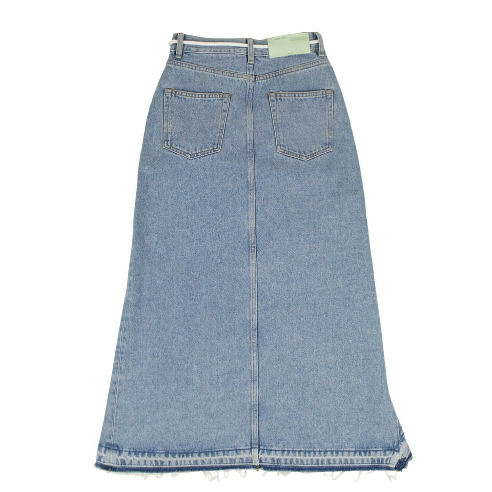 Asymmetric Hi-Low Bleached Denim Ruffle Skirt - Blue