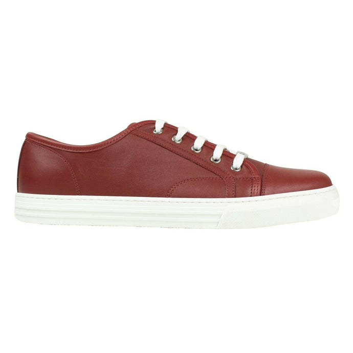 Men's Leather Lace Up Sneakers - Red