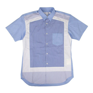 Cotton Stripe Short Sleeves Button Down Shirt - Blue