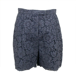 Floral Embroidered Lace Shorts - Gray