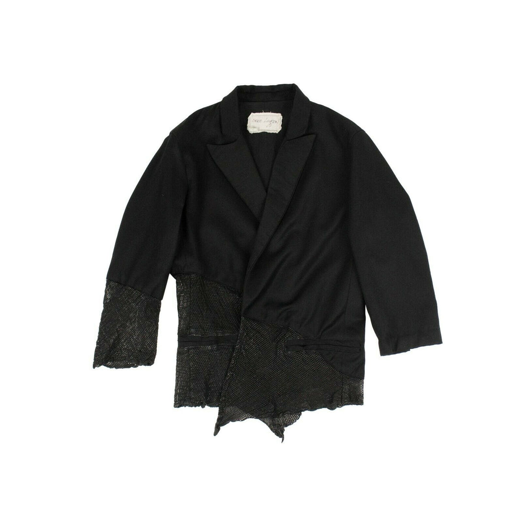 Gabardine And Leather Cropped Blazer - Black