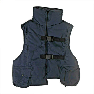 Collared Hooded Padded Vest - Navy Blue