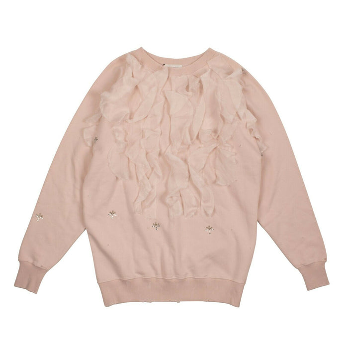 Fleece Ruffled Pullover Sweater - Pink
