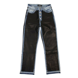 Leather And Denim Straight Jeans - Black
