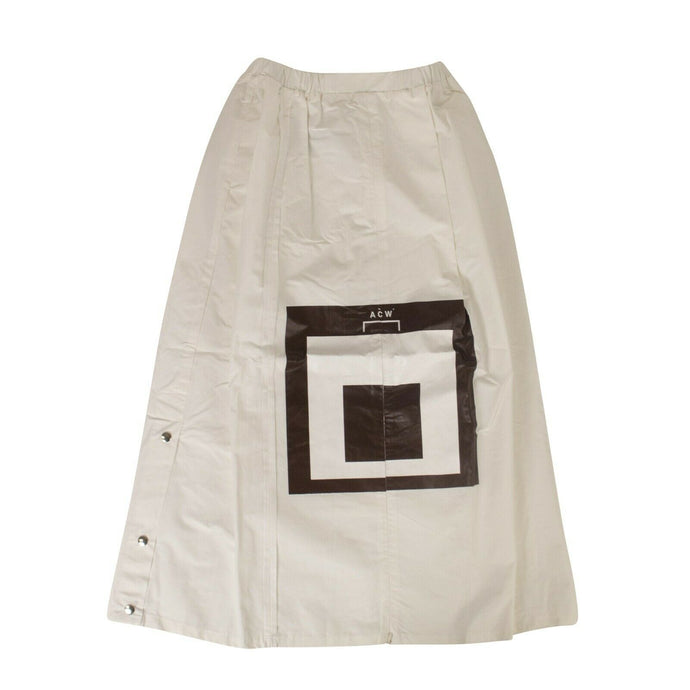 Cotton Snap Midi Skirt - White