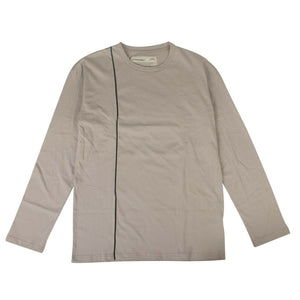 Cotton 'Piped' Long Sleeve T-Shirt - Gray