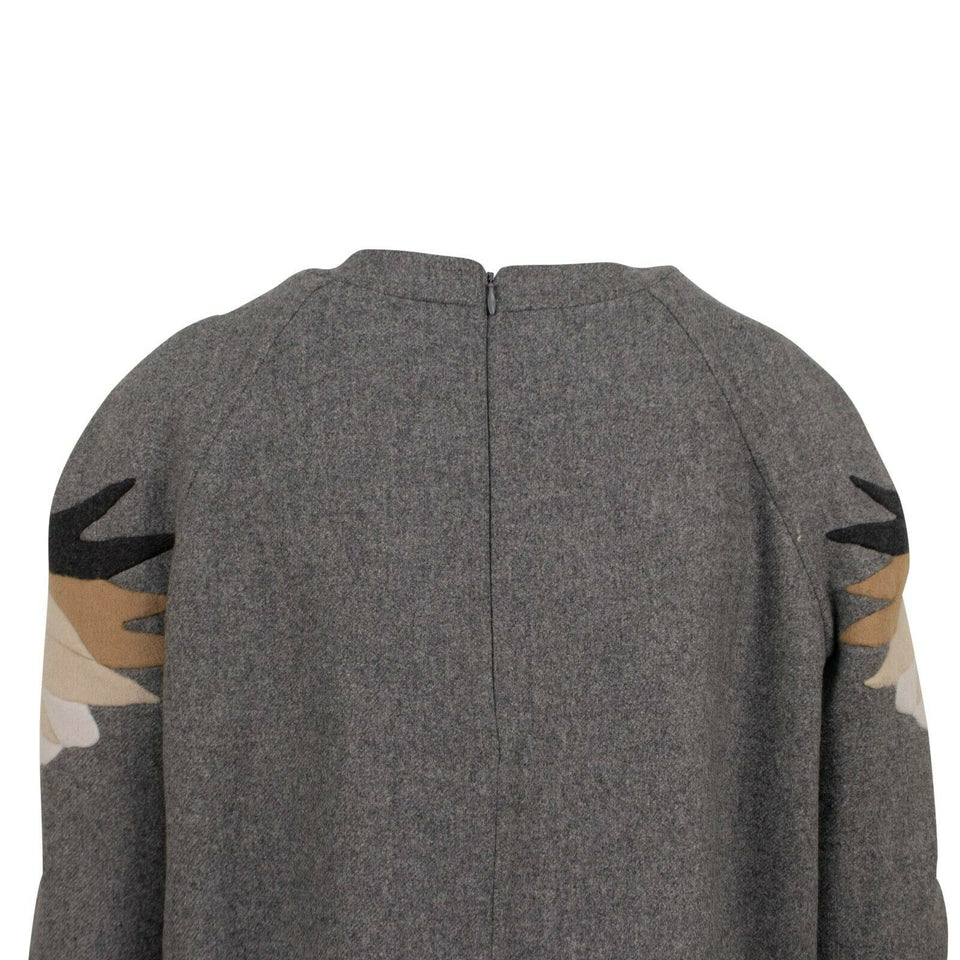 Wool Blend Eagle Applique Sweater - Heather Gray