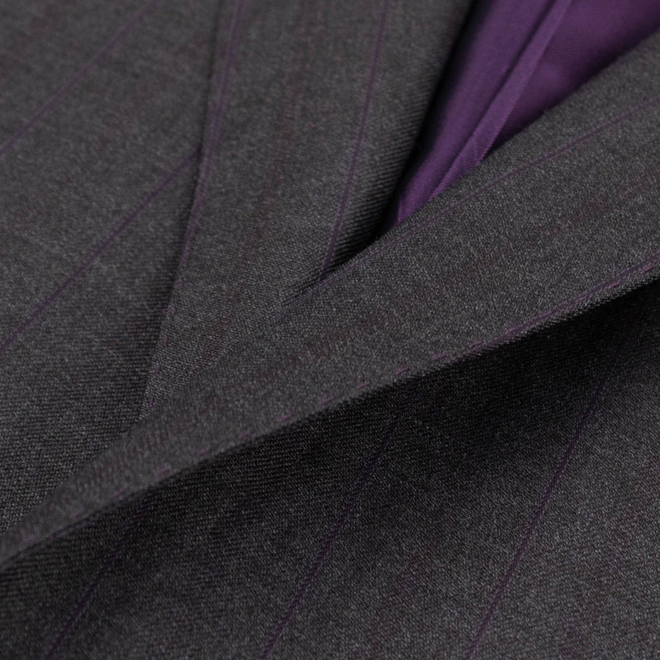 Drop 8 Striped Wool Two Button Suit - Charcoal Grey