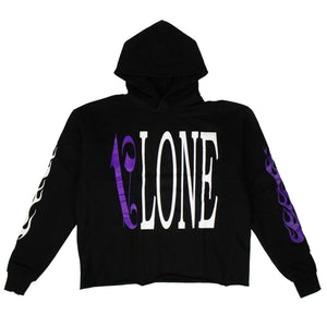 VLONE x PALM ANGELS Logo Hoodie Sweatshirt - Black/Purple