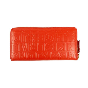 Leather Letter Embossed Wallet - Orange