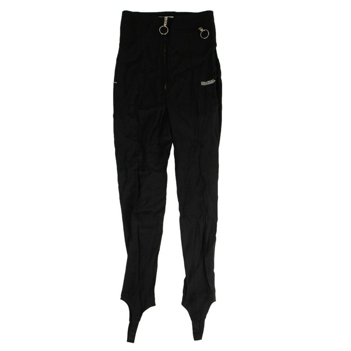 Zip Front Slim Fit Pants - Black