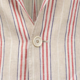Drop 9 Striped Linen 3 Roll 2 Button Sport Coat - Beige