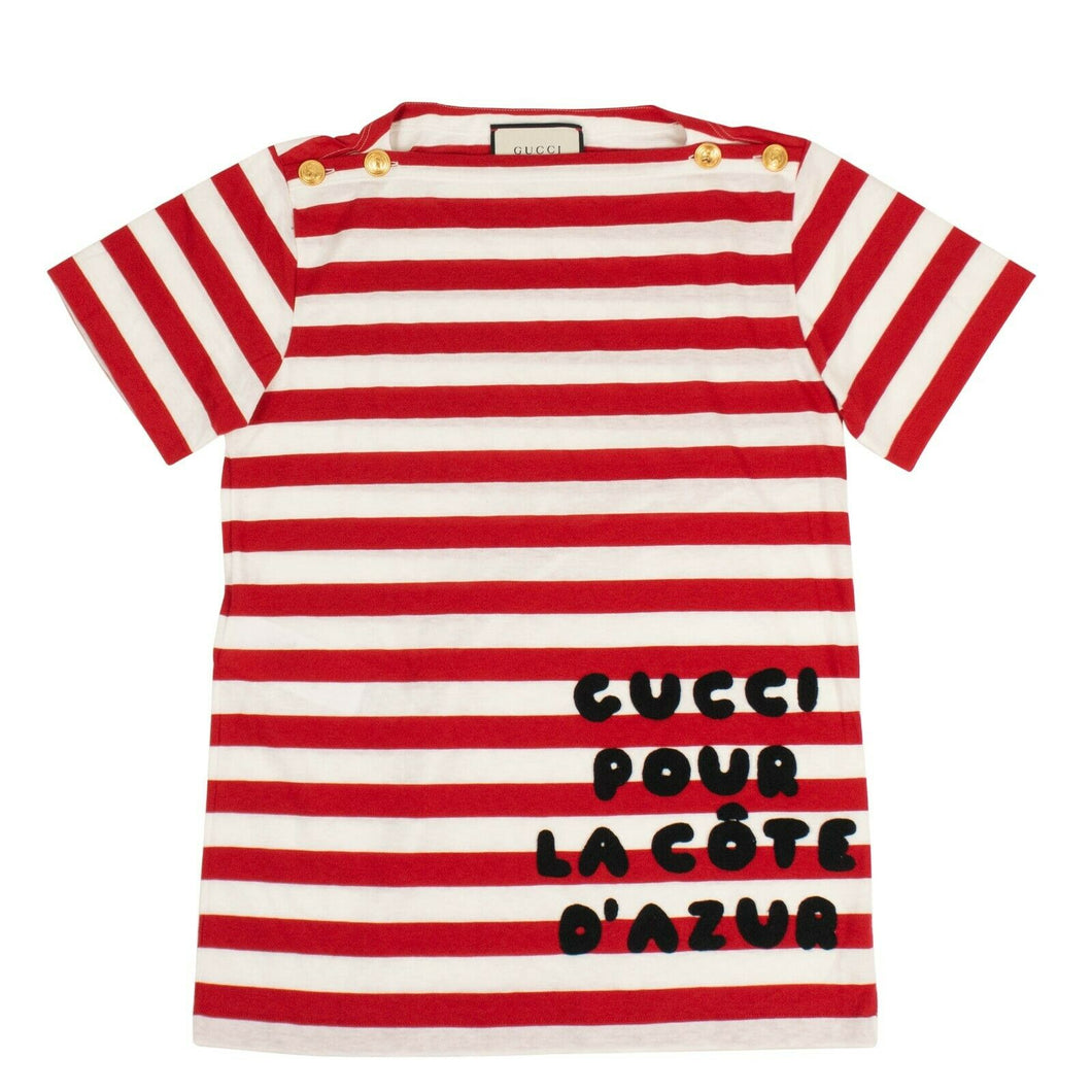 Women's Cote d'Azur Striped Patch Cotton T-Shirt - Red / White