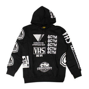 'Entertainment Logo' Hoodie Sweatshirt - Black