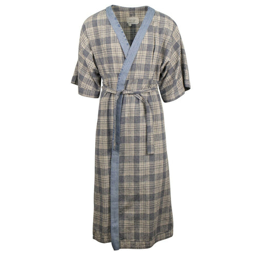 Plaid And VIntage Denim Kimono Robe - Ivory / Blue