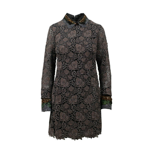 Embroidered With Feather Collar Long Sleeve Dress - Beige / Black