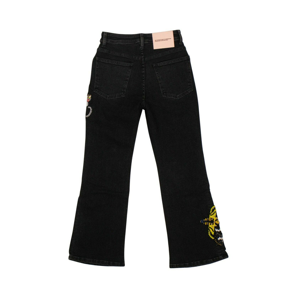 Cotton Moth Tiger Cropped Bootcut Jeans - Black
