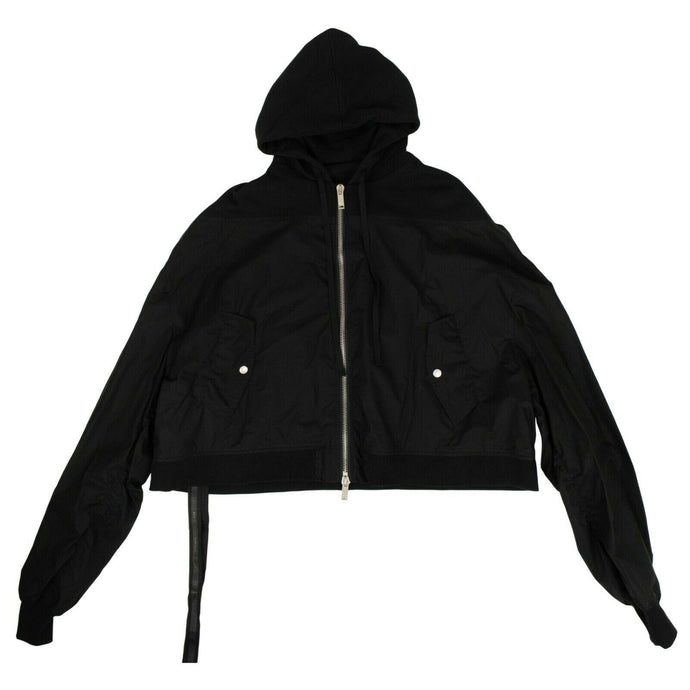 Cotton Hybrid Cropped Bomber Jacket - Black