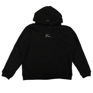 TWENTY x WOO Cotton Logo Hoodie Sweatshirt - Black