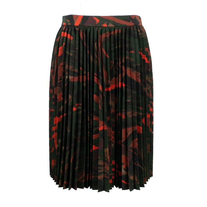 Abstrait Graphique Crepe Tech Skirt - Burgundy